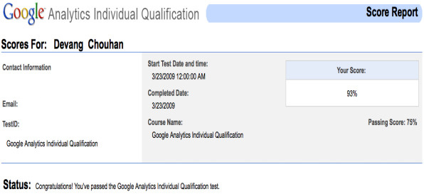 Google Analytics test result